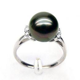 Bague solitaire perle de Tahiti -  Or blanc, diamants sertis grains