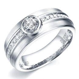 Chevalière or - Bague Hommes or blanc 750/1000 - Diamant serti clos
