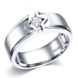 Bague or blanc hommes - Solitaire diamant homme moderne