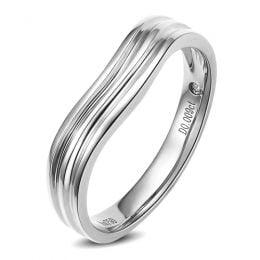 Alliance ondulée motifs striés - Or blanc 18cts - Diamant - Femme
