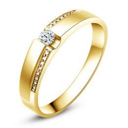 Alliance solitaire or jaune 750/1000 - Bague Homme diamants | Marley