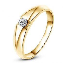 Alliance solitaire or jaune - Bague alliance diamant pour Homme