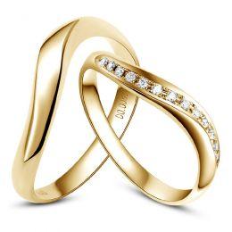 Alliances ondulées or jaune - Alliances Duo avec diamants
