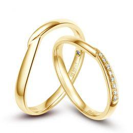 Alliances or jaune diamants - Duo d'alliances