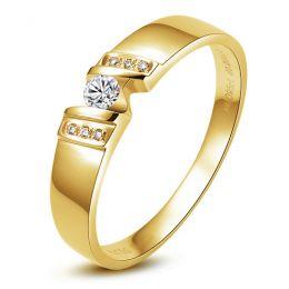 Alliance homme de caractère - Or jaune et Diamants