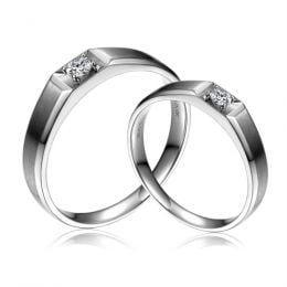 Alliances Couple. Or blanc. Diamants 0.200ct