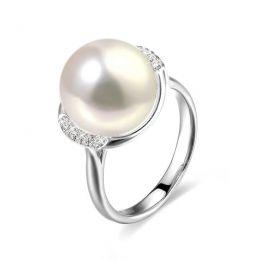 Bague perle d'eau douce et or blanc - Plateau circulaire en diamants