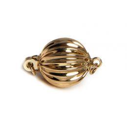 Boccino : Fermoir boule striée. Or jaune 14cts, 7mm. Style classique