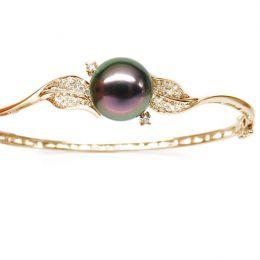 Bracelet jonc - Perle de Tahiti - Pavage feuilles - Or jaune, diamants