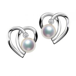 Boucles Coeur contemporain Or blanc. Perles Akoya, Diamants.