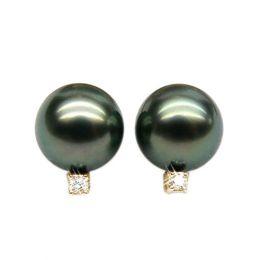 Boucles oreilles perles - Clous or jaune - Perle de Tahiti - Puces diamants
