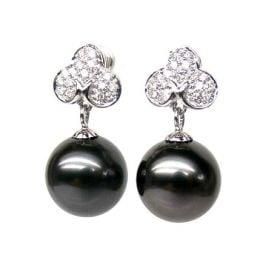 Boucles d'oreilles trèfles - Perles de Tahiti - Or blanc, diamants