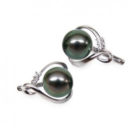 Boucles oreilles dormeuses clips - Perles de Tahiti - Or blanc, diamants