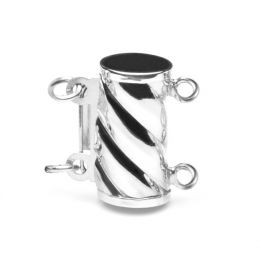 Cilindro : Fermoir cylindre Or blanc 14 carats. Forme courbe qui serpente