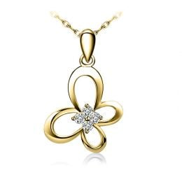 Pendentif fleur papillonnante - Or jaune 18 carats - Diamants 0.08ct