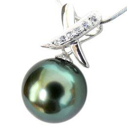 Ciondolo oro bianco - Perla di Tahiti nera, blu - 9/10mm