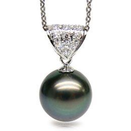 Pendentif Papeete - Perle de Tahiti paon bleue - Or blanc, diamants