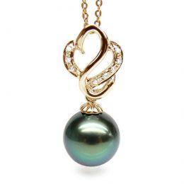 Pendentif séduction cygne - Perle de Tahiti - Or jaune, diamants