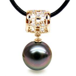 Pendentif bélière circulaire - Perle de Tahiti - Or jaune, diamants