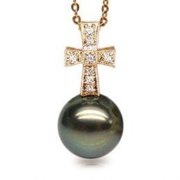 Pendentif croix romaine - Perle de Tahiti - Or jaune, diamants
