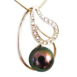 Pendentif Alara - Perle de Tahiti paon aubergine - Or jaune, diamants