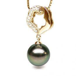 Pendentif floral - Perle de Tahiti noire, aubergine - Or jaune, diamants