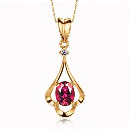 Pendentif solitaire - Or jaune - Rubis et diamant en pendeloque