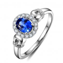 Solitaire en Saphir et Diamants - Bague en Or blanc 18 carats