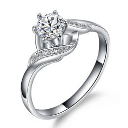 Bague solitaire enlacée diamants - Bague elliptique or blanc