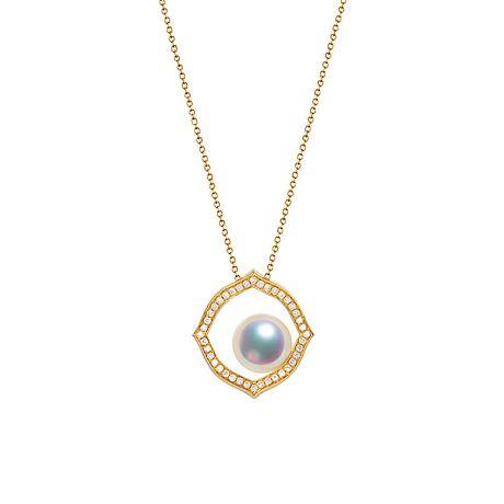 Pendentif or jaune perle culture Akoya, Diamant - Coco Chanel