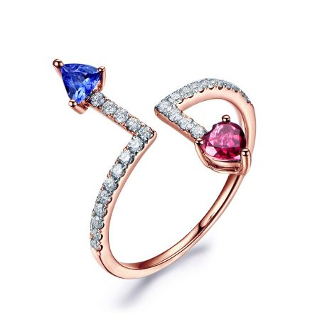 Bague Autre moi. Or rose, diamants. Tourmaline, tanzanite