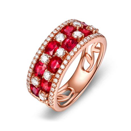 Bague damier Or rose. Rubis et diamants alternés