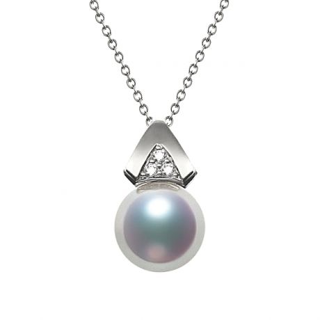Pendentif triangulaire perle Akoya du Japon, Or blanc et diamants