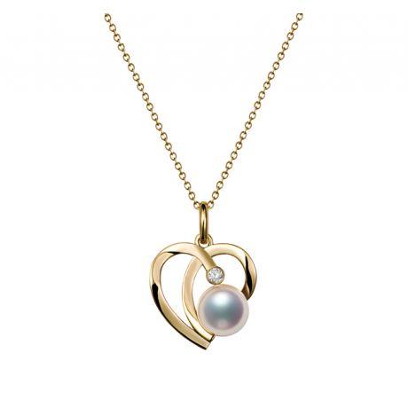 Pendentif Chiaky. Coeur moderne Or jaune. Perle Akoya, Diamant