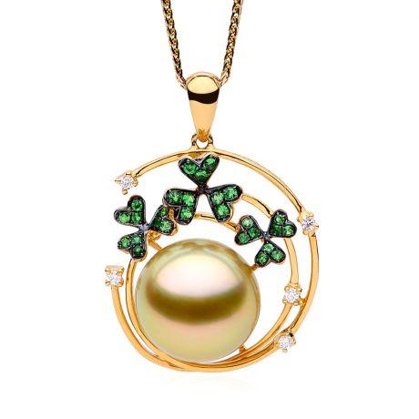 Pendentif jardin d'été. Perle d'Australie, diamants, grenat vert