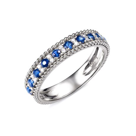 Bague saphir - Tempietto - Or blanc, diamant, saphir
