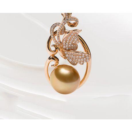 Pendentif papillon perle d'Australie, Or rose, diamants
