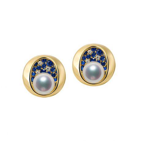Boucle oreille perle Akoya I Constellation saphir diamant I Seiza, Or jaune