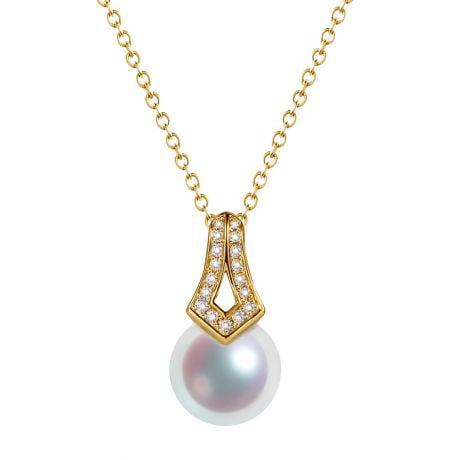 Pendentif perle du Japon Akoya. Michiko. Or jaune et diamants