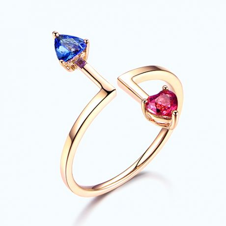 Bague Vice et Versa. Tourmaline, tanzanite. Or jaune
