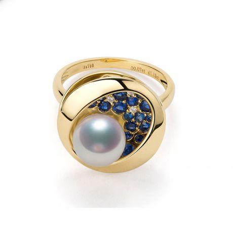 Bague Seiza Constellation I Perle Akoya, saphir, diamant I Or jaune