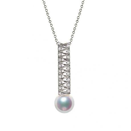 Pendentif perle du Japon. Or blanc, diamant - Hatsune Miku