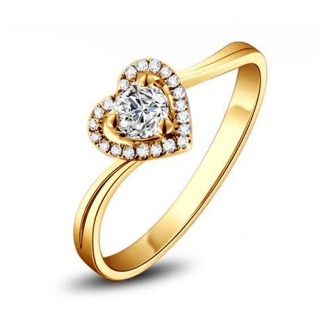 Anello Solitario Cuore Mio  Oro Giallo 18k & Diamanti VS/G | Gemperles