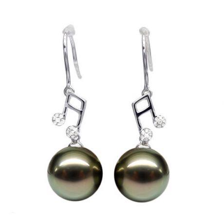 Boucles d'oreilles notes de musique - Crochets or blanc - Perles de Tahiti