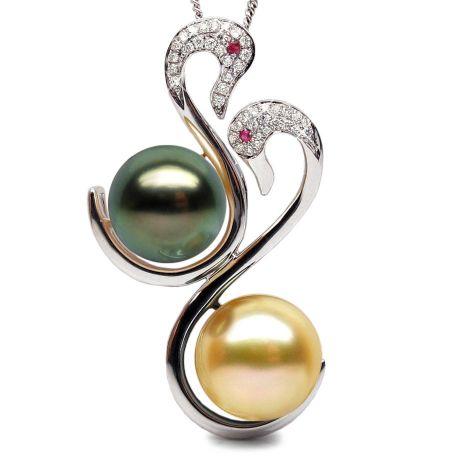 Pendentif cygnes - Perles des mers du sud - Or blanc, diamants