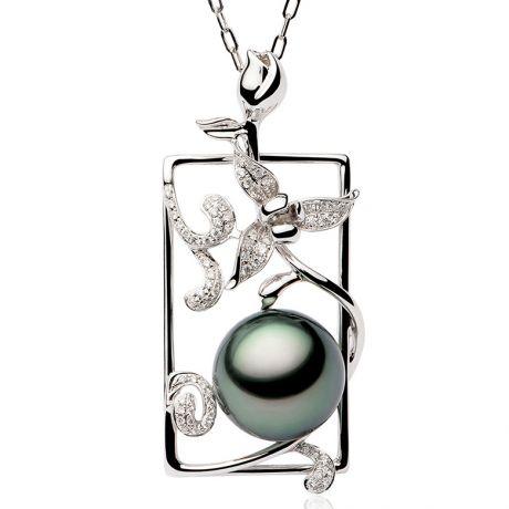 Pendentif Orchidée en perle de Tahiti, Or blanc et diamants