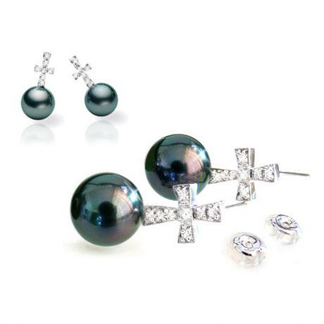 Boucles d'oreilles croix - Perles de culture - Tahiti - Or blanc - Diamants