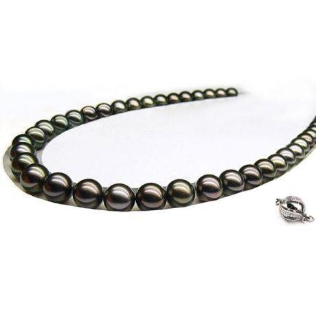 Les perles noires - Collier perles de Tahiti bronzes foncées - 10/12mm