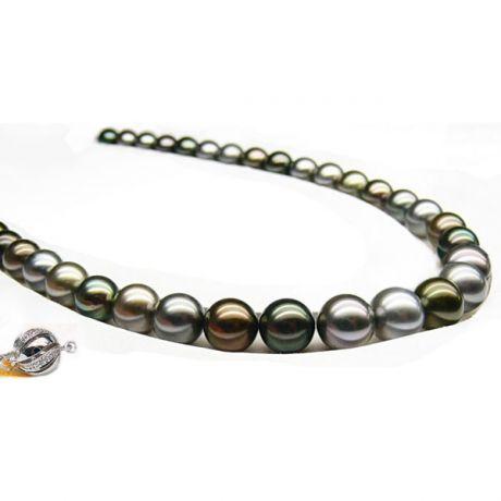 Collier en perle de Tahiti - Perles multicolores - 9/10mm - AAA