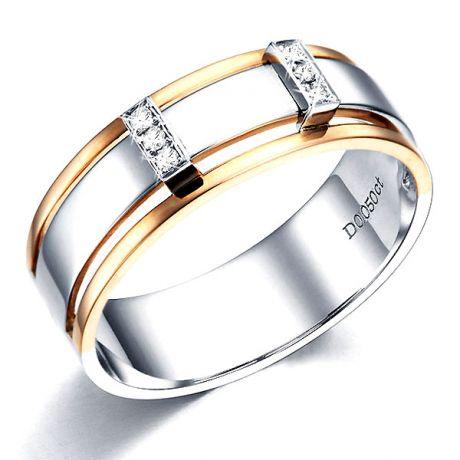 Anello Uomo - Oro bianco, rosa 6.50gr - Diamanti 0.050ct